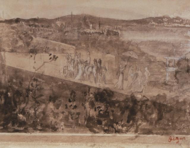 Degas, Cortège aux Environs de Florence Pencil and wash on paper, 16 x 21 cm