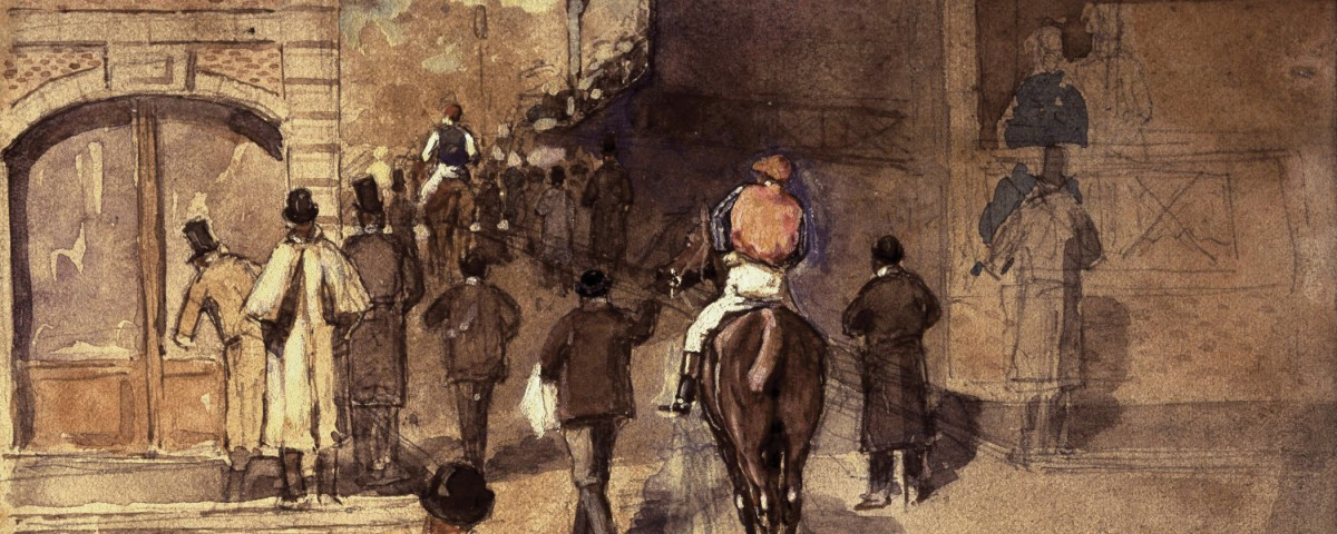 Degas, La Sortie de Pesage Pencil and watercolor on paper, 10 x 16 cm