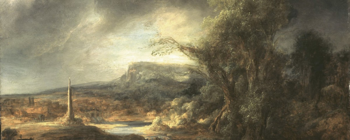 Govaert Flinck, Landscape with an Obelisk, 1638 Oil on oak panel, 54.5 x 71 cm. Inscribed faintly at the foot on the right: R. 16.8 (until recently attributed to Rembrandt). Long attributed to Rembrandt, this work was recognized in the 1980s as the work of his pupil, Govaert Flinck. Gardner placed this work on a table alongside a window, opposite Vermeer's The Concert.