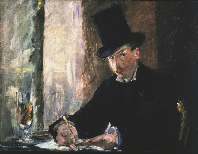 Manet, Chez Tortoni, 1878–1880 Oil on canvas, 26 x 34 cm. Inscribed at the foot on the left: Manet. Gardner placed this small work on a table beneath the darker and far more somber portrait of Manet's mother, shown as a widow in a black veil and a silk dress entirely in black.