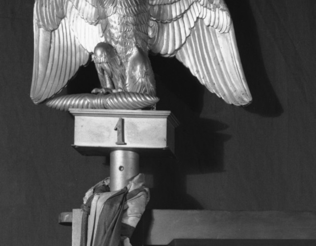 Finial in the form of an eagle, French, 1813–1814 Approx. 10 in. high, this originally sat on the top of the pole support of a silk Napoleonic flag in the Short Gallery, which was not taken by the thieves. The finial is made of bronze, but may have had the appearance of gold to the thieves. The finial is one of only two objects stolen.