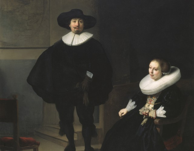Rembrandt, A Lady and Gentleman in Black, 1633 Oil on canvas, 131.6 x 109 cm. Inscribed at the foot: Rembrandt.ft: 1633. This monumental work hung in a prominent spot in the Dutch Room, visible through its windows overlooking the court. Rembrandt completed this work in his second year in Amsterdam in 1632.