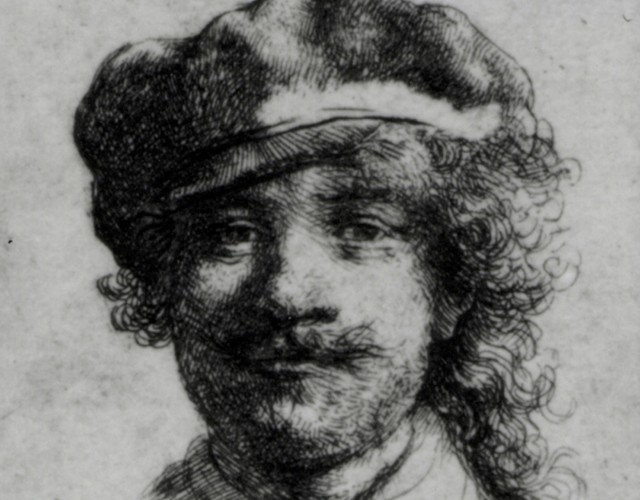 Rembrandt, Self-Portrait, ca. 1634 Etching, 1 3/4 x 2 in. (Bartsch 2, Rovinski 2, Hind 57). A small etching nearly the size of a postage stamp, also referred to as Portrait of the Artist as a Young Man, it was completed in 1633 when the artist was 27 years of age. The small work was affixed to the side of a carved oak cabinet in the Dutch Room beneath Rembrandt's painted Self-Portrait of 1929.