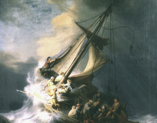 Rembrandt, The Storm on the Sea of Galilee, 1633  Oil on canvas, 161.7 x 129.8 cm. Inscribed on the rudder: Rembrandt (sic). f::/1633. This is Rembrandt's only known seascape
