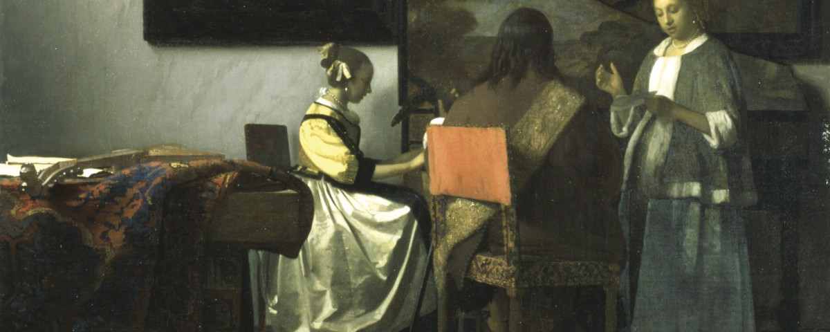 Vermeer, The Concert, 1658–1660 Oil on canvas, 72.5 x 64.7 cm. One of approximately only 36 known works by Vermeer in the world. This work was Gardner's first major acquisition, purchased with the help of experts at a Paris auction sale. Gardner placed it on a table alongside the window, a location where she often placed her most prized paintings, with a chair in front of it to invite viewing.